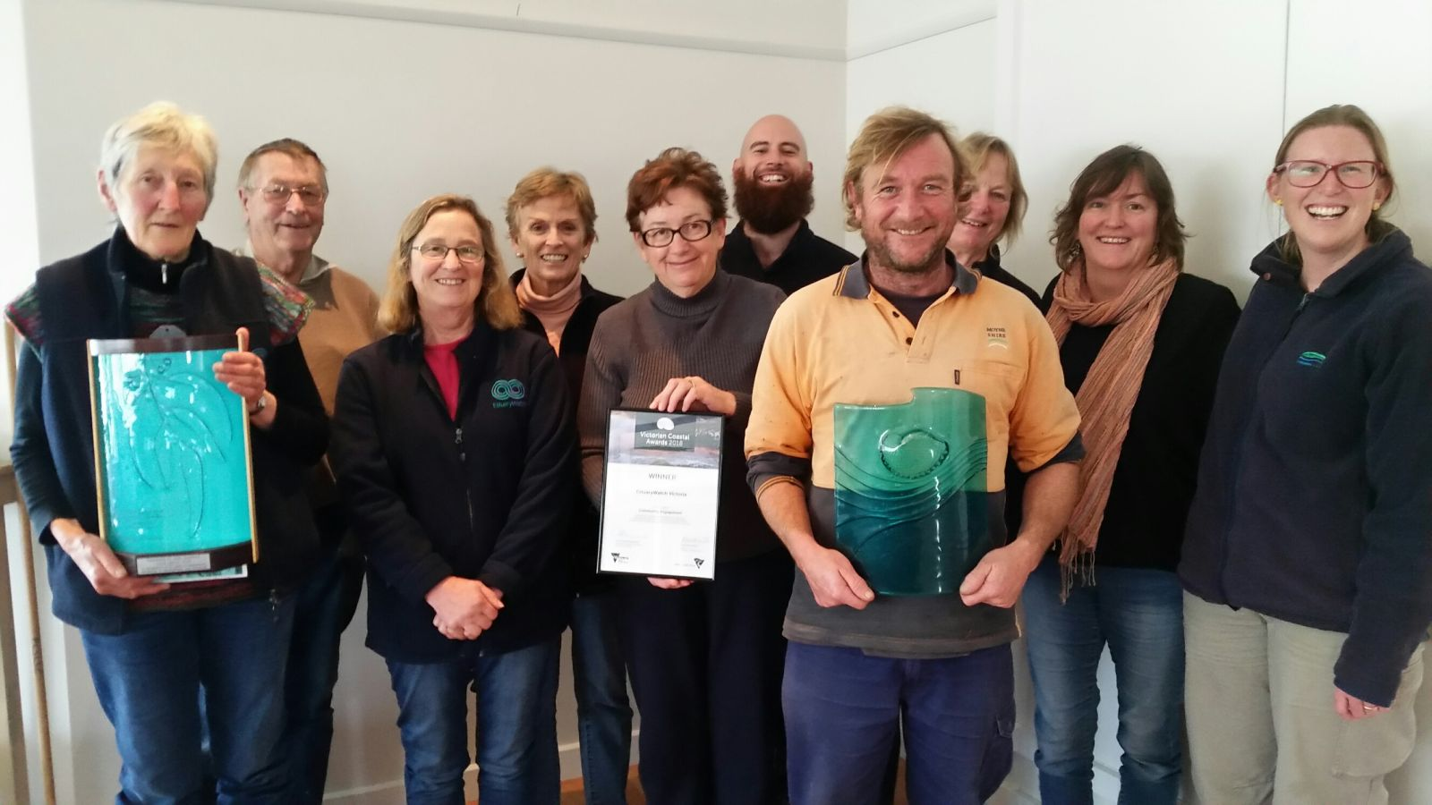 Curdies River and Gellibrand River EstuaryWatchers celebrate winning the award.