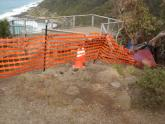 Fenced off lookout after fire damage.